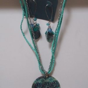 Beaded Necklace and Earings